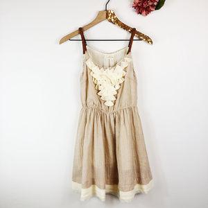 [XTAREN] Beige Ruffle Bust Dress